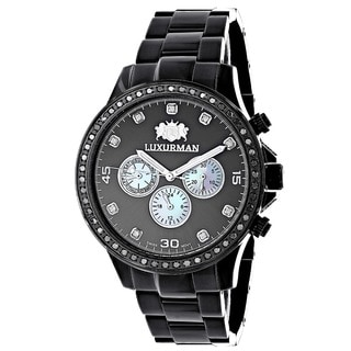 Luxurman Men's Black-tone Stainless Steel Diamond Accent Quartz Watch