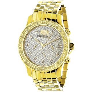 Luxurman Men's Goldtone Stainless Steel Diamond Accent Quartz Watch