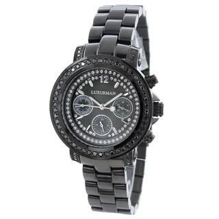Luxurman Women's Black Diamond Watch