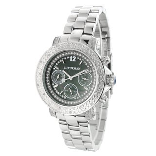 Luxurman Women's Stainless Steel Diamond Watch