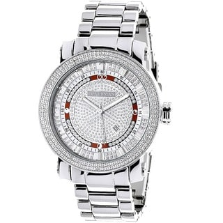 Luxurman Men's Stainless Steel Diamond Watch
