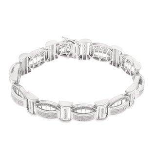 Sterling Silver 1 1/4ct TDW Diamond Men's Bracelet (H-I, SI1-SI2)