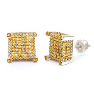Sterling Silver 1 1/3ct Yellow Diamond Stud Earrings