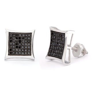 Sterling Silver 1/2ct Black Diamond Stud Earrings