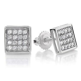 10k White Gold 1/5ct TDW Square Diamond Stud Earrings (H-I, I1-I2)