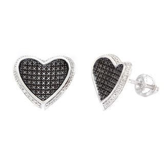 Sterling Silver 1/6ct Black Diamond Pave Diamond Heart Stud Earrings (H-I, I1-I2)