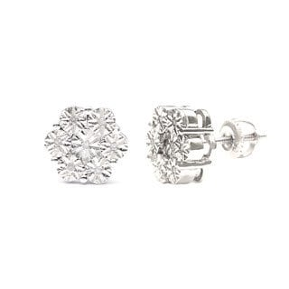 Sterling Silver 1/10ct TDW Cluster Stud Earrings (I-J, I1-I2)
