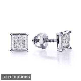 Luxurman 10k White Gold 1/8ct TDW Round Diamond Earrings (H-I, I1-I2)