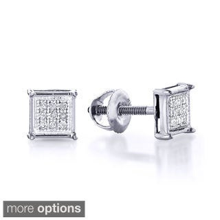10k White Gold 1/8ct TDW Round Diamond Earrings (H-I, I1-I2)