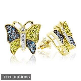 Luxurman 10k White Gold 1/2ct Multi-color Diamond Butterfly Stud Earrings (I1-I2)