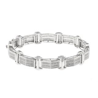 Sterling Silver 3/5ct TDW Diamond Men's Bracelet