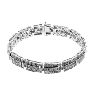 Sterling Silver 3 3/5ct TDW Diamonds Men's Link Bracelet