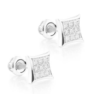 10k White Gold Diamond Accent Kite Stud Earrings