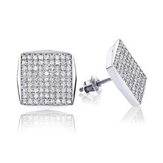 14k White Gold Square Shaped 7/8ct TDW Diamond Stud Earrings (H-I, I1-I2)