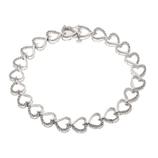 Sterling Silver 2/5ct TDW Diamond Heart Bracelet (H-I, I1-I2)