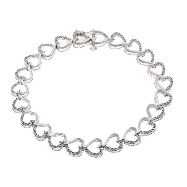 Sterling Silver 2/5ct TDW Diamond Heart Bracelet (H-I, I1-I2)