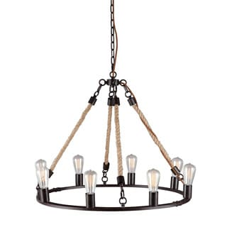 'Galena' Twined Rope 8-light Rustic Ceiling Lamp
