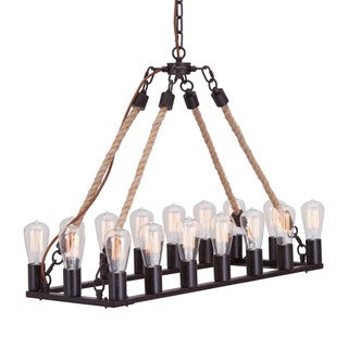 'Gallite' Twined Rope 16-light Rustic Ceiling Lamp