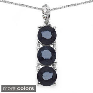 Sterling Silver Gemstone and Diamond Accent Pendant Necklace