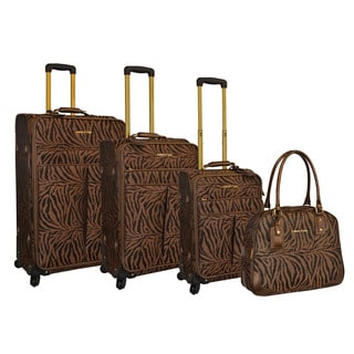 Adrienne Vittadini 4-piece Printed Zebra Jacquard Fashion Spinner Luggage Set
