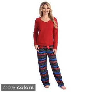 Jasmine Rose Women's Thermal and Fleece 2-piece Pajama Set