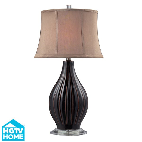 HGTV HOME 1-Light Glazed Coffee Ceramic Table Lamp 11962332