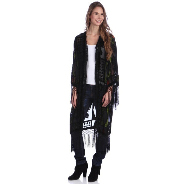 Black Hand-made Embroidered Velvet and Silk Shawl Jacket
