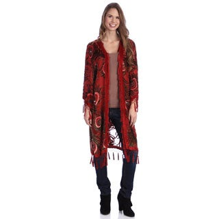 Hand-made Embroidered Red Velvet and Silk Shawl Jacket