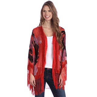 Red Hand-made Embroidered Velvet and Silk Shawl Jacket