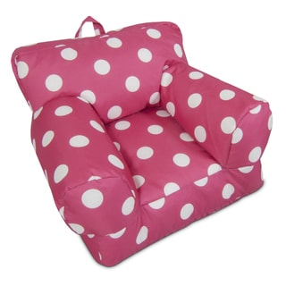 BeanSack Kid's Hot Pink/ White Polka Dots Bean Bag Arm Chair