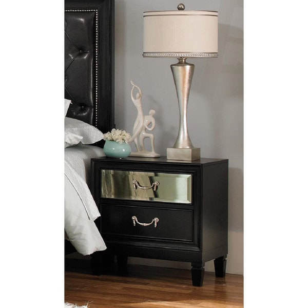 Devlin Black Casual 2-drawer Nightstand