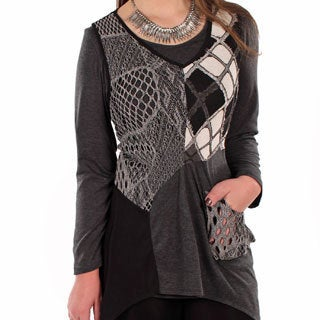 Women's Plus Size Black/ Grey Openwork Spliced Top