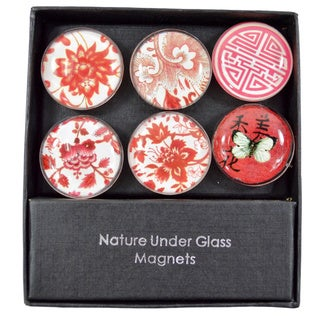 Asian Floral 6-piece Glass Refrigerator Magnet Set