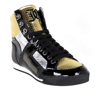 John Galliano Men's Black/ Gold Leather High-top Sneakers