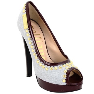 John Galliano Women's Silver Glitter/ Burgundy Patent Peep-toe Pumps