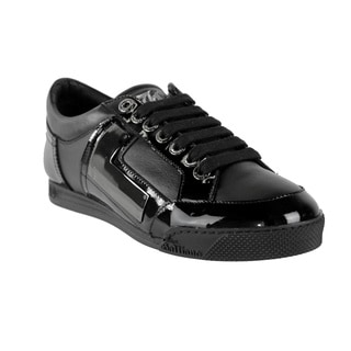 John Galliano Men's Black Leather Lace-up Sneakers