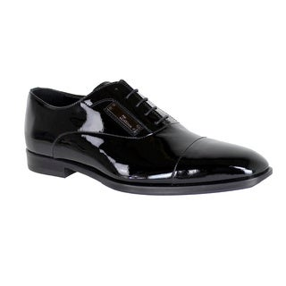 John Galliano Men's Black Patent Leather Oxford Shoes