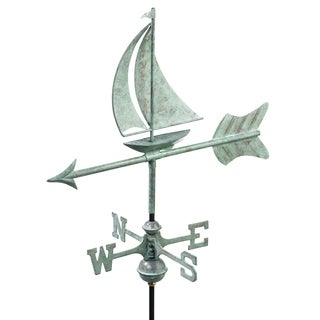 'Sailboat' Polished Copper Garden Weathervane with Roof Mount