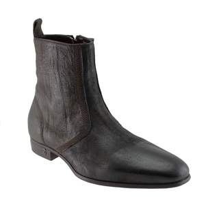 Cavalli Men's Brown Waxed Suede inside-zip Ankle Boots