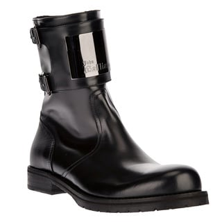 John Galliano Men's Black Leather Buckled Ankle Boots