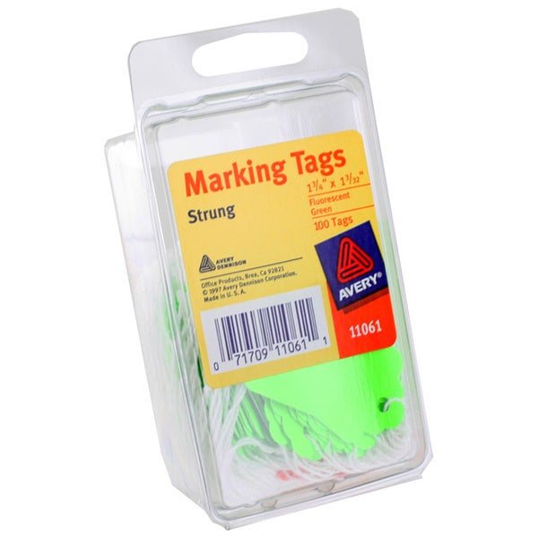 Avery Marking Tags Strung 1-3/4 x 1-3/32-inch Fluorescent Green Pack of 200