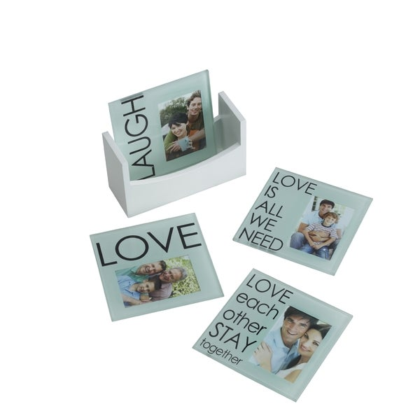 Melannco Glass Laugh, Love, Sentiment Photo Coasters (Set of 4)