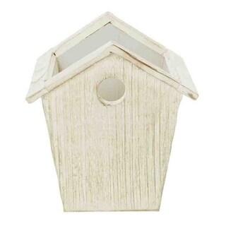 4.75-inch Whitewash Wood Birdhouse Planter (Set of 4)