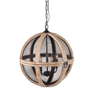 Magma 5-light Distressed Oak/ Black Ceiling Lamp