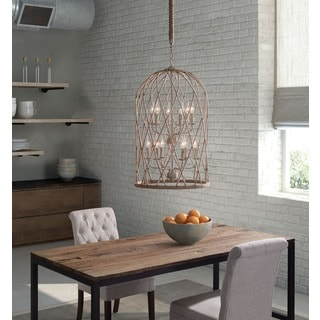 Coal 12-light Twine/ Beige/ Rust Ceiling Lamp