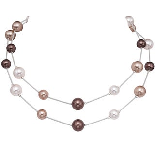 Pearlyta Sterling Silver Multi-colored Shell Pearl Necklace