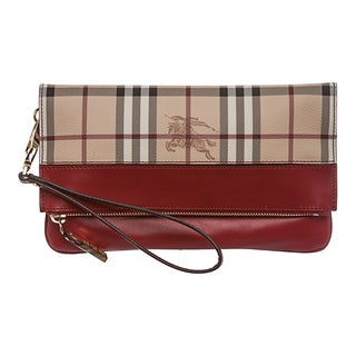 Burberry 'Adeline' Beige/ Red Haymarket Check Fold-over Wristlet