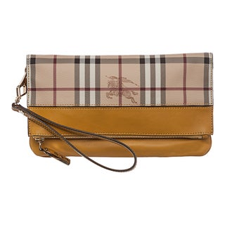 Burberry 'Adeline' Beige/ Yellow Haymarket Check Fold-over Wristlet