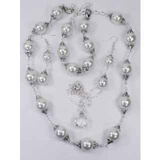 21-inch White Glass Pearl Wedding Jewelry Set