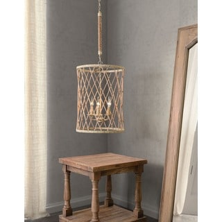 Mica 5-light Twine/ Beige/ Rust Ceiling Lamp